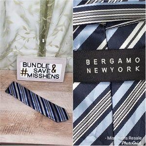 BERGAMO NEW YORK REGIMENT NAVY GRAY BLUE NECK TIE